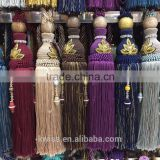 gold cord and tassels long tassel fringe,various style of long cord tassel fringe for curtain decoration