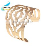 Newest Gold Plated Geometry Hollow Out Metals Bracelet Jewellery Punk Style Plain Cuff Bangles