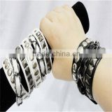 Black and white leather alloy hip-hop punk couple bracelet