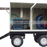 mobile type mixed flow pump set with diesel engine, 12'' pump, flux 980m3/h, head 13m, with 4 wheel trailer and canopy
