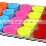 Non Stick Silicone Cupcake Cups 24 Pack / Rainbow Bright Standard Silicone Reusable Heat Resistant Baking Cups
