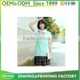 Custom Design your own logo Beautiful High School Uniform Vest+Shirt+Plaid Skrit for Girls