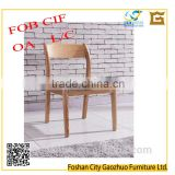 Modern ash solid wood dinning chair with curbed back and fabric covering