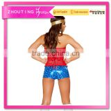 CT5259 Red and blue sexy woman photo corset