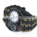 Outdoor Camping Watch With survival Flint Fire starter paracord Compass rescue Whistle Thermometer rope Watch