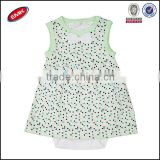 newest pretty girls sleeveless polka dots 100%cotton lovely baby romper dress China manufactory