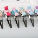 Solid color round shape hair pins little girls best metal hair accessory butterfly free sample alloy hair clip