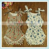 Wholesale baby clothes cheap girl floral knit cotton romper with pom pom cotton baby clothing floral vintage girls bodysuits