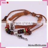 Braided leather bracelet factory, with beads bracelet hand chain for men