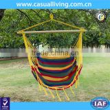 Outdoor Canvas Hanging Hammock Swing Chair Seat with Wood Spreader Bar and Fringe (Tropical Stripe)