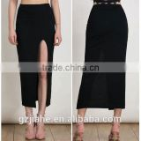 Jiahe Factory latest fashion black long skirt design hight rise waist,hight tight spit women maxi dress