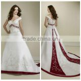 satin deep v neck long train red white wedding dress