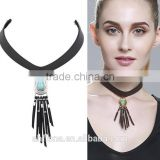 F20020N Vintage Black Leather Pearl Choker Necklace For Accessories Women Collar