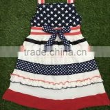 navy polka dots red stripe smocked patriotic dress girls summer wear for national day baby girl bounique outfit