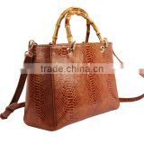 Fashion Latest Ladies Genuine Leather Handbag with Bamboo Handle