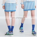 Instyle OEM fast delivery Blue and white stripes knitted fabric fancy skirt top designs micro mini skirt