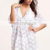 White Summer Women Floral Beach Dress Bikini Cover up Kaftan
