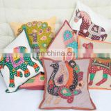 Company custom handmade animal design cushion cover custom royal animal printing jaipuri cushion covers