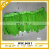 Wholesale Dyed Green Goose Feather Trimming with Satin Ribbon Tape