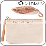 factory women money purse canvas splicing leather clutch bag simple design wristlet hand bag for ladies