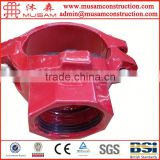 FM UL approved ductile iron grooved pipe fitting U bolt threaded mechanical tee