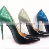 Perfect match color green&black CL style pumps china oem factory women shoes heels sexy party wear