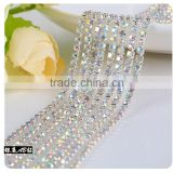 Crystal AB Silver Plating Wholesales AAA Quality Shinny Close Crystal Cup Claw Rhinestone Chain for Jewelry Cheapest