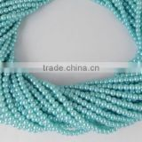 "5 Strand Pale Turquoise Glass 4.5mm Smooth Rondelle Acrylic Pearl beads,Jewelry Beads,Pearlized Beads,16"" Long"