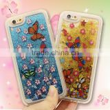 3D Butterfly Glitter Liquid Floating TPU Plastic Material Hard Back Cover Cell Phone Cases for Iphone6 6plus