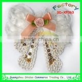 White butterfly design chiffon flower with sequin decoration chiffon lace flower for women garment