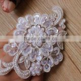 Wholesale White Embroidery Lace Sequin Flower Applique With Pearls,Dress Applique Sequin Patches