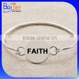 Hot Sale Personalize Stainless Steel 925 Sterling Silver Disc Bangles Bracelets Wholesale                                                                         Quality Choice