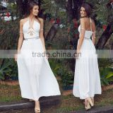 Straps halter neck modern fashion beautiful night dress maxi evneing dress gown