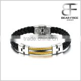 Wholesale Weaved Bracelet of Genuine Pu Leather for Men Gold Stainless Steel Wrap Bangle