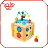 Funny Baby popular iq wooden cube brain puzzle toy