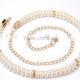 fashion all-match ladies and woman peal beads hook decoration narrow waist belt with metal chain