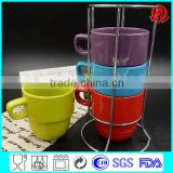 4 set ceramic mug with iron stand stacking coffee mug for tableware/promotion gift                                                                                                         Supplier's Choice