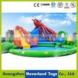 NEVERLAND TOYS Inflatable Lobster Water Slide with Swimming Pool Cartoon Animals Water Park Pop for Kids