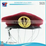 Maroon caps with metal badge two metal holes army beret caps                                                                         Quality Choice