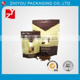 China OEM factory gravure printing moisture proof zipper top stand up plastic coffee bean packaging bags with your logo