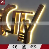 Metal stainless steel illuminated signage backlit led channel letter shop outdoor signs