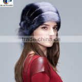 TD1009 British Style Adjustable Diamond Decoration Top Quality Pelt Mink Fur Mixed Color Hat For Women