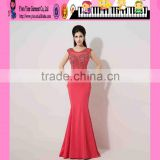 Hot Sale Fashion Custom Sleeveless Red Sexy Formal Beaded Evening Dress Backless Mermaid Red Sexy Formal Beaded Evening Dress