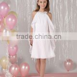 Beaded halter knee length chiffon custom-made pageant flower girl dress CWFaf4458 Image