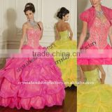 2012 short sleeve ruched beaded bust sweetheart organza custom-made Quinceanera dress with borelo CWFab3420