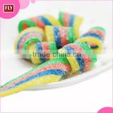 Bulk Wholesale Assorted Sugar Coated Candy Gummies , Rainbow Sour Belt Chew Candy