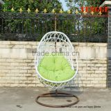 Single seat white rattan hanging chair for outdoor
