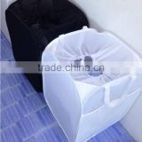Store More White and Black Reinforced Carry Handled Foldable Pop-Up Mesh Hamper