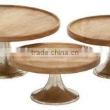 wood material antique cake stand
