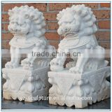 Outdoor Large Size Marble Foo Dog Statue for sale